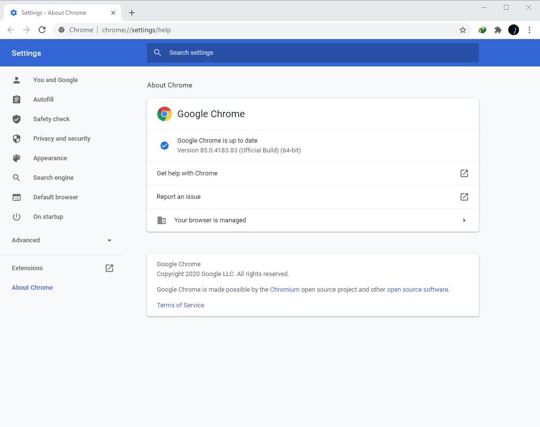 Google Chrome Browser 85.0.4183.83