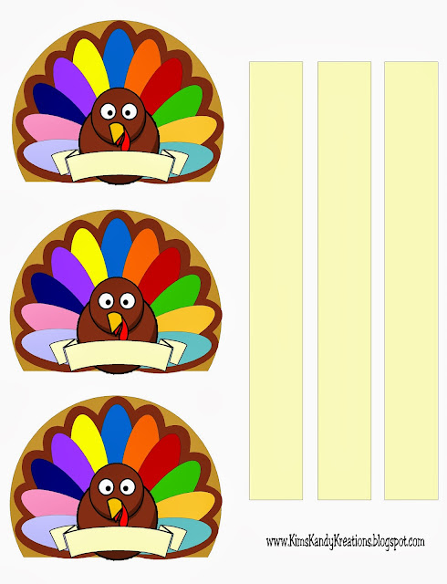 Turkey Napkin Place Cards with Banner Printable