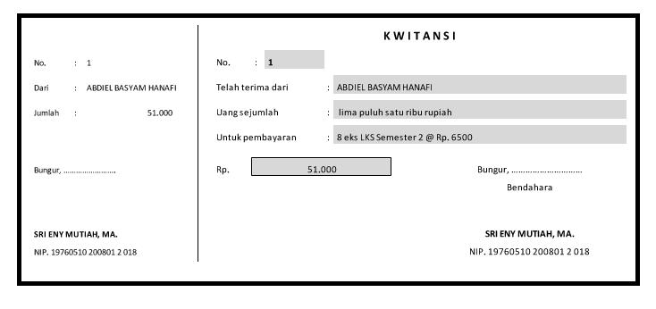 contoh Cetak Kwitansi