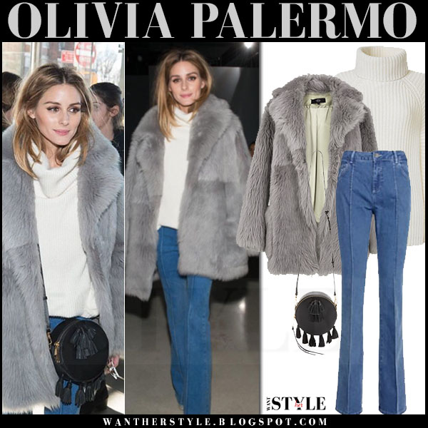 Olivia Palermo in grey fur tibi toscana coat, flared reiss jeans and round rebecca minkoff sofia bag front row outfits what she wore nyfw