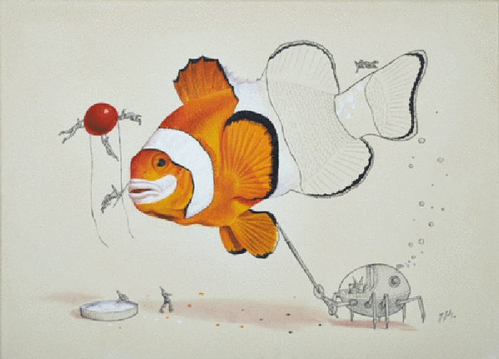 03-Clown-Fish-Ricardo-Solis-Surreal-Illustrations-of-Animals-in-Mid-Construction-www-designstack-co