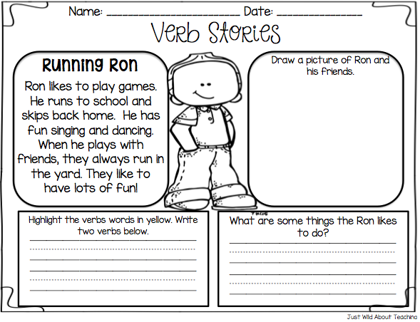 Just Wild About Teaching Teach Me Nouns and Verbs – Nouns and Verbs Worksheets