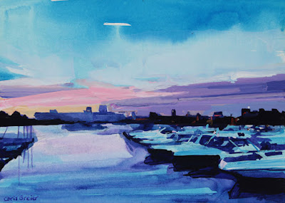 Acrylic painting of a boat harbor in Buffalo, New York.