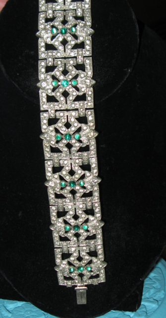 1920s Vintage Original Art Deco Bracelet Rhinestones and Green Stones. Via Diamonds in the Library.