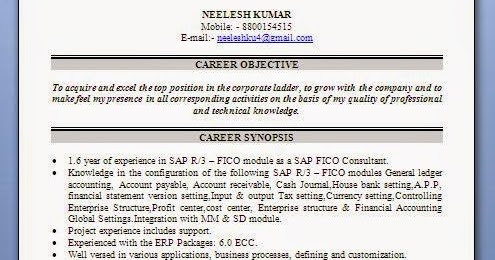 sample resume for sap fico consultant - mba sap fico fresher resume