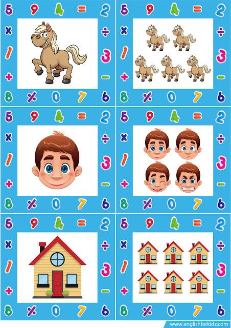 Grammar flashcards for kids, singular vs plural nouns
