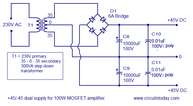 100W MOSFET power amplifier - The Circuit