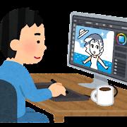 パソコンで絵を描くイラストレーターのイラスト(男性)