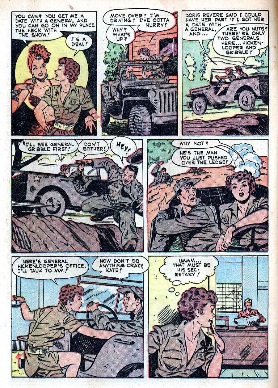 Matt Baker golden age 1950s st john canteen kate war comic book page art - Fightin' Marines #3
