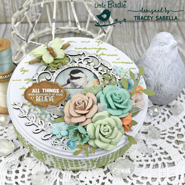 DIY Altered Mixed Media Tin by Tracey Sabella for Little Birdie Crafts:  #traceysabella #littlebirdiecrafts #littlebirdieonline #littlebirdieflowers #diy #diyhomedecor #altered #alteredtin #mixedmedia #chipboard #heatembossing #diy #diyhomedecor #handcrafted #handmade