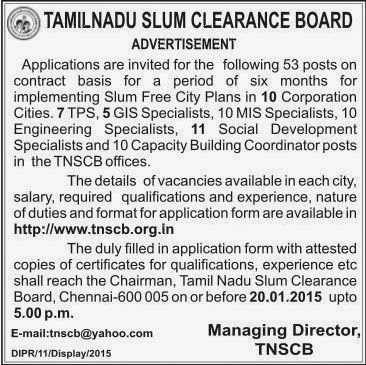 Tamil Nadu Slum Clearance Board (TNSCB) Recruitments (www.tngovernmentjobs.in)