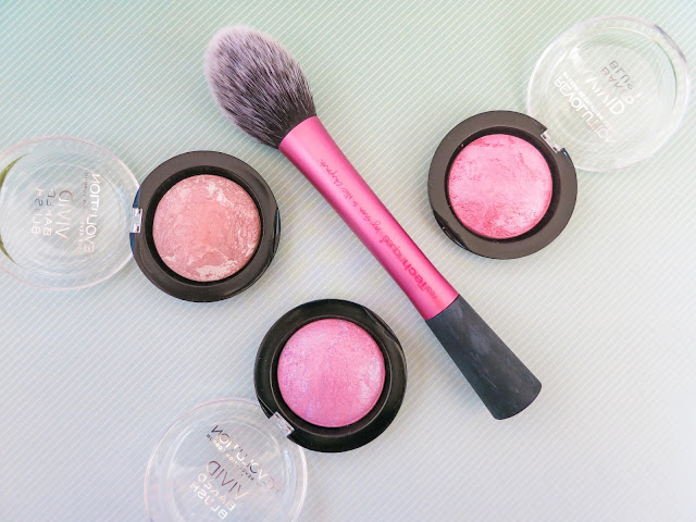 Real Techniques blush brush and three baked blushes from MUR.