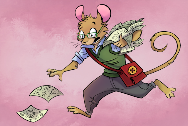 A mouse in a glasses, a sweater vest, and a button down with dark pants and a red messenger bag, holding an armful of papers and running off to chase after some that have blown away