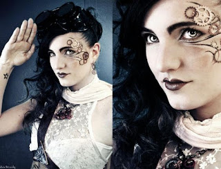 how to glue gears on your face for a sexy steampunk makeup style