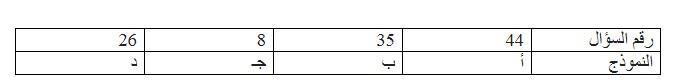 تعديلات نموذج اجابة امتحان الفيزياء السؤال رقم 44