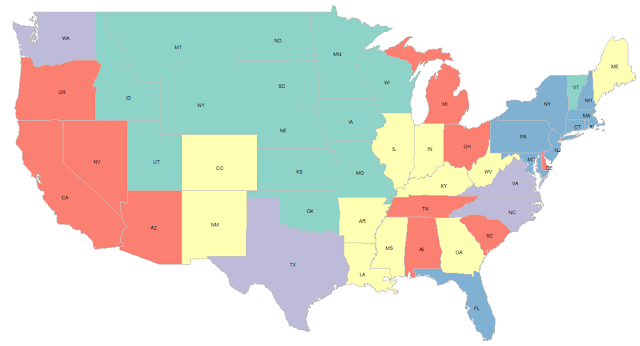 Average Expenses for TV across states of USA