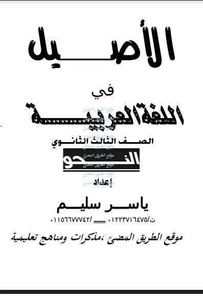 تحميل مذكرة النحو الجديدة للثانوية العامة , استاذ ياسر سليم , رابط مباشر