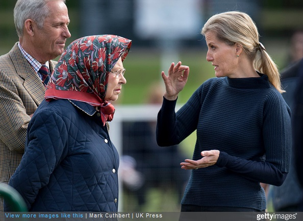 Queen Elizabeth II and Sophie, Countess of Wessex attend the Royal Windsor Horse show in the private grounds of Windsor Castle on May 15, 2015 in Windsor, England.