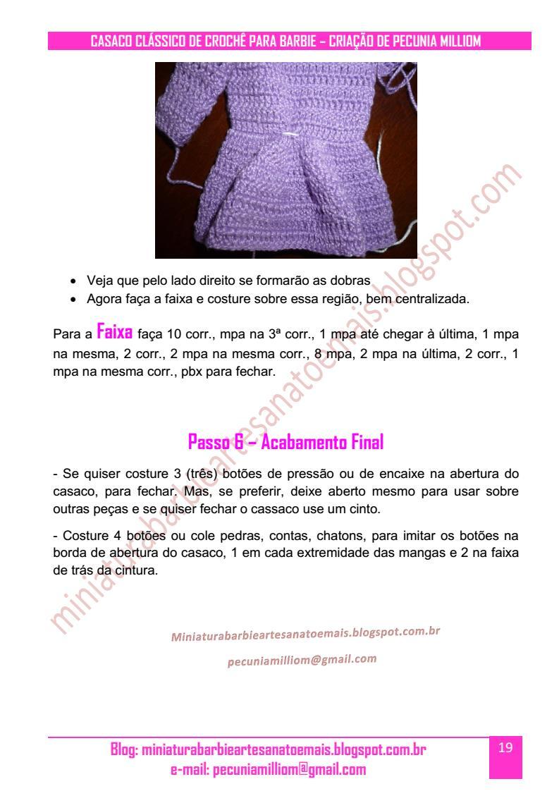 PAP do Casaco Clássico de Crochê para Barbie pag 19