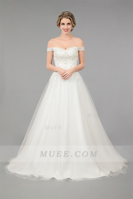 https://www.muee.com/elegant-off-the-shoulder-lace-alineprincess-tulle-wedding-dress-p-697.html
