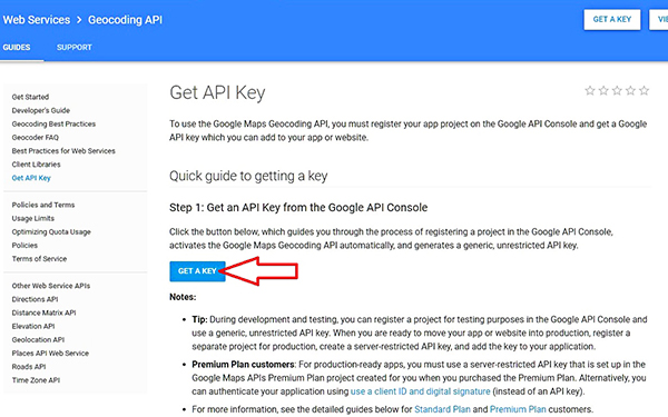 Navigate To Google API Page