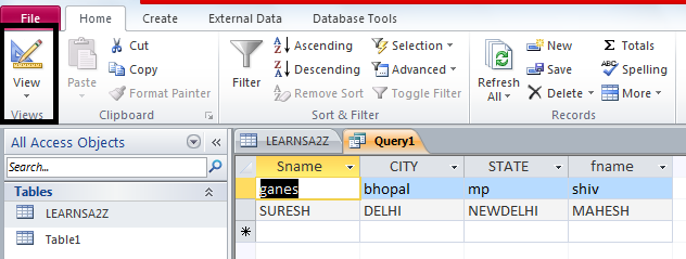 INTERVIEW, make ms access query table, sql क्वेरी से टेबल कैसे बनाये, SQL Query, SQL QUIZ, TABLE FILTER, VIEW TABLE