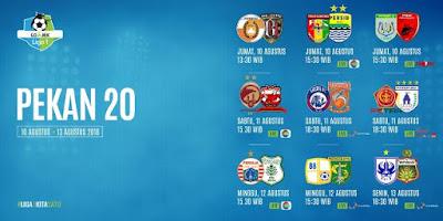 Jadwal Lengkap  Liga 1 2018 Pekan 20