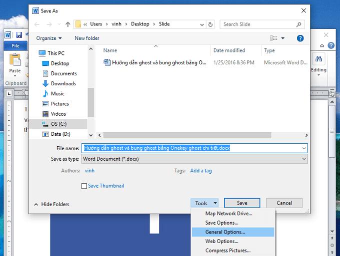cách đặt mật khẩu cho file word