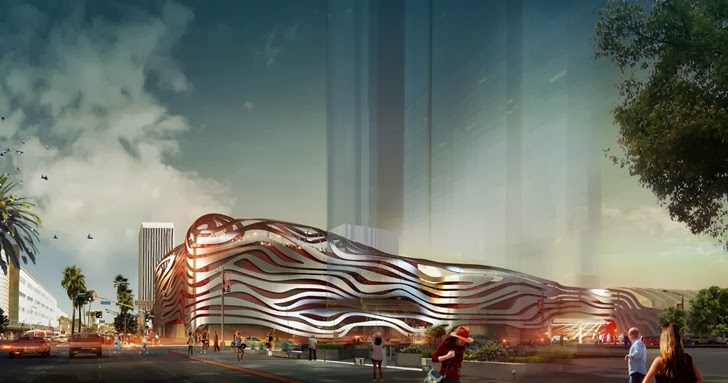 Street view of the new facade on Petersen Automotive Museum in Los Angeles