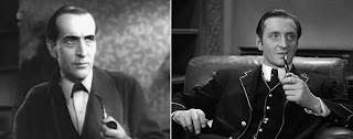 Arthur Wontner and Basil Rathbone as Sherlock Holmes