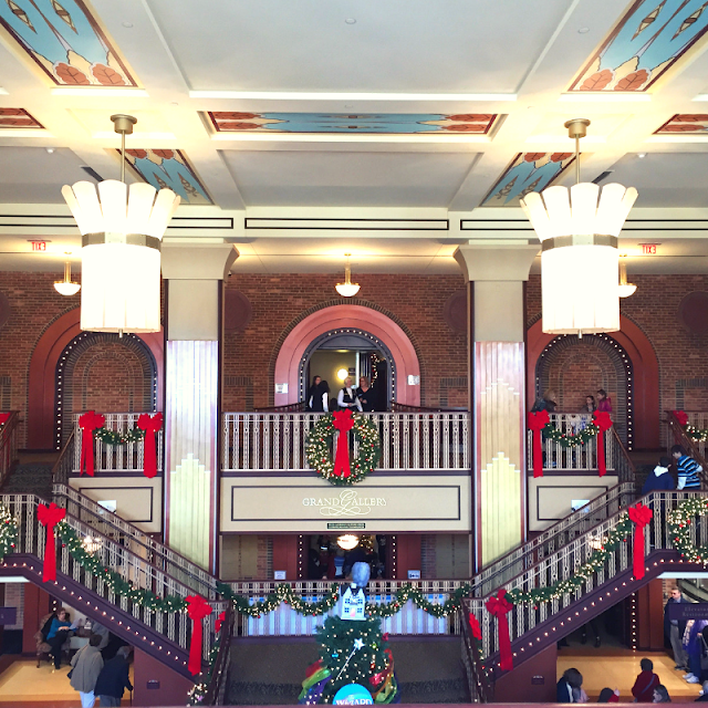 The grand staircase at the Paramount Theatre in Aurora, Illinois decked for the holidays!