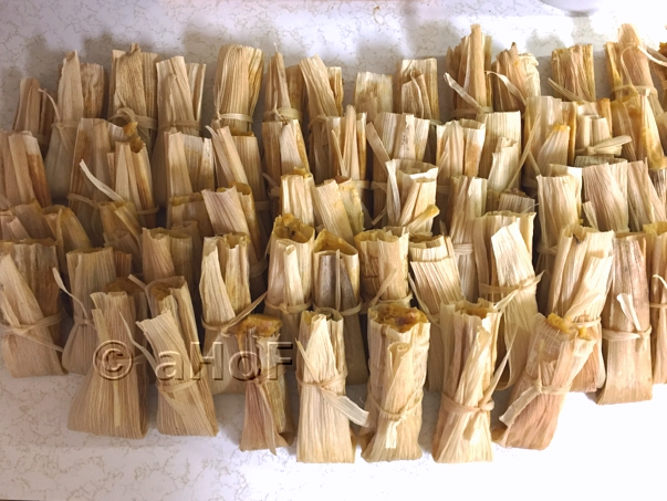 Finished batch of tamales cooling