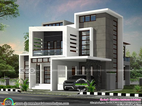 Beautiful Box Model Contemporary Residence With 4 Bedroom Kerala Home Design And Floor Plans