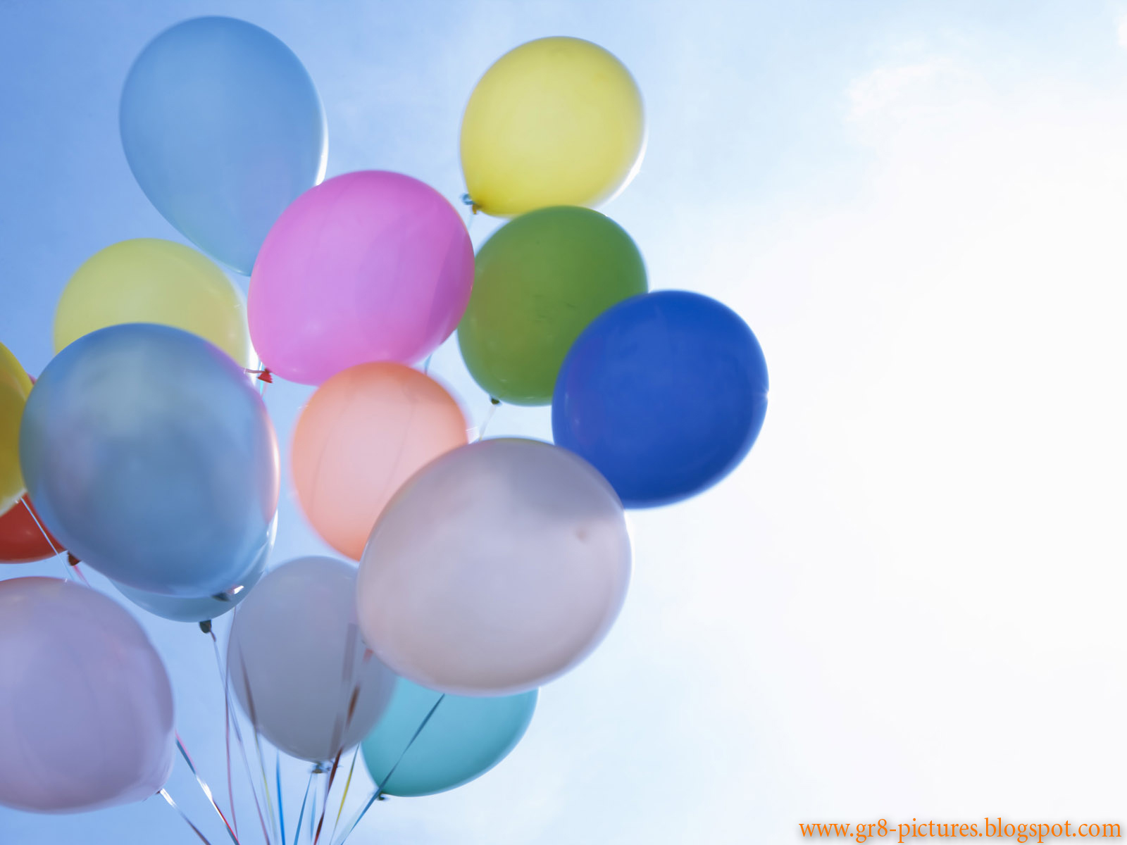 Happy Birthday With Many Balloons In The Sky And Cake