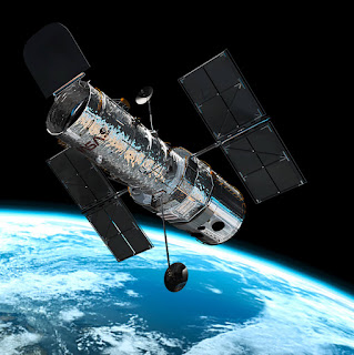 Image of Hubble Space Telescope in Earth's Orbit