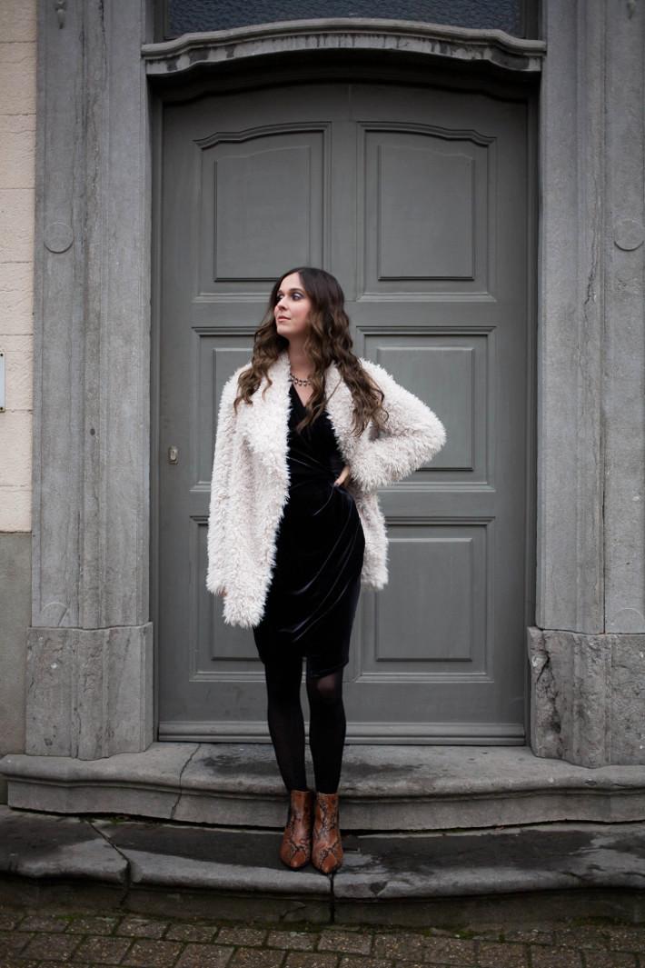 Outfit: velvet wrap dress for NYE 2016