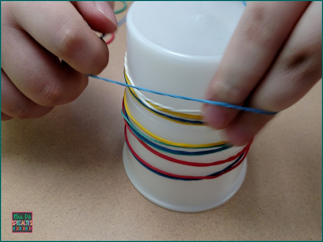 patterning with rubber bands, rubber band work task