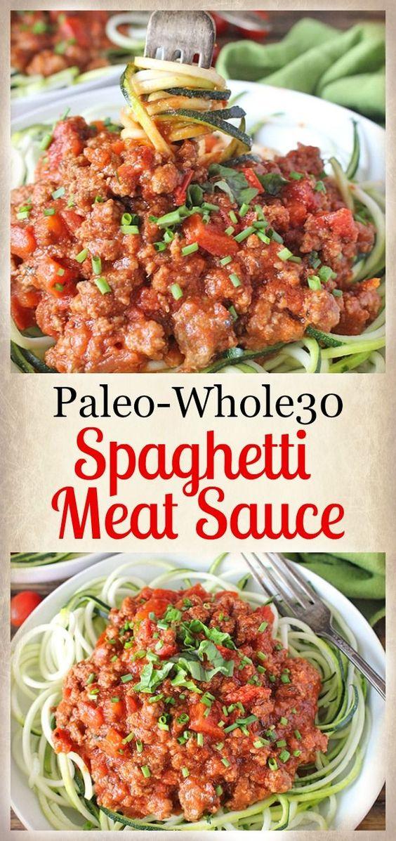 Paleo Whole30 Spaghetti Meat Sauce #PASTA #SAUCE #SPAGHETTI  #PALEO #GLUTENFREE