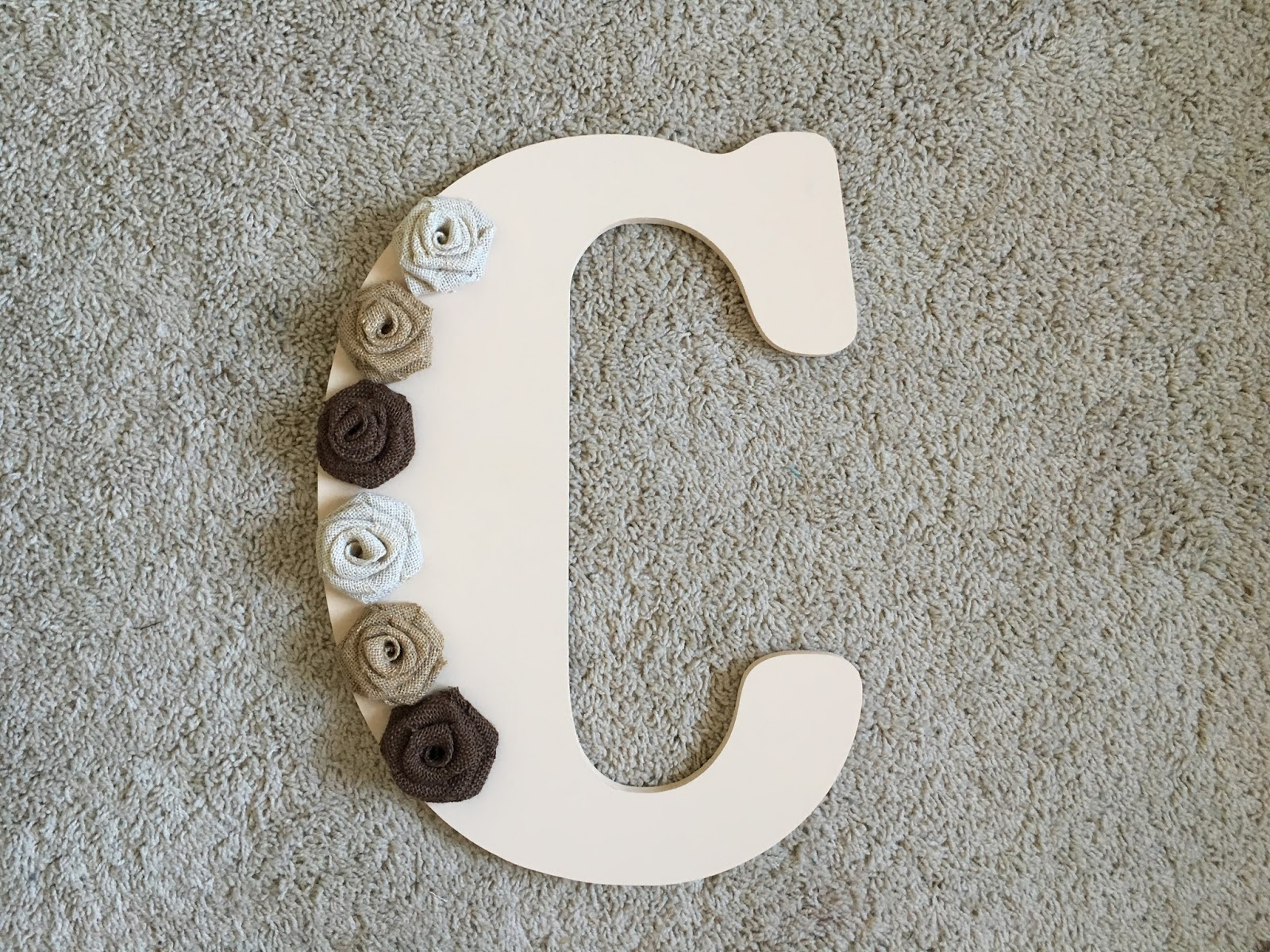 Diy Initial Door Hanger With Burlap Roses Perfectly Ambitious