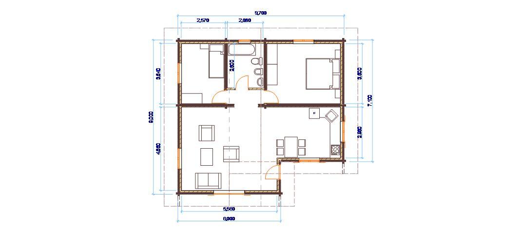 Progetti di case in legno casa 80 mq for Casa moderna 60 mq