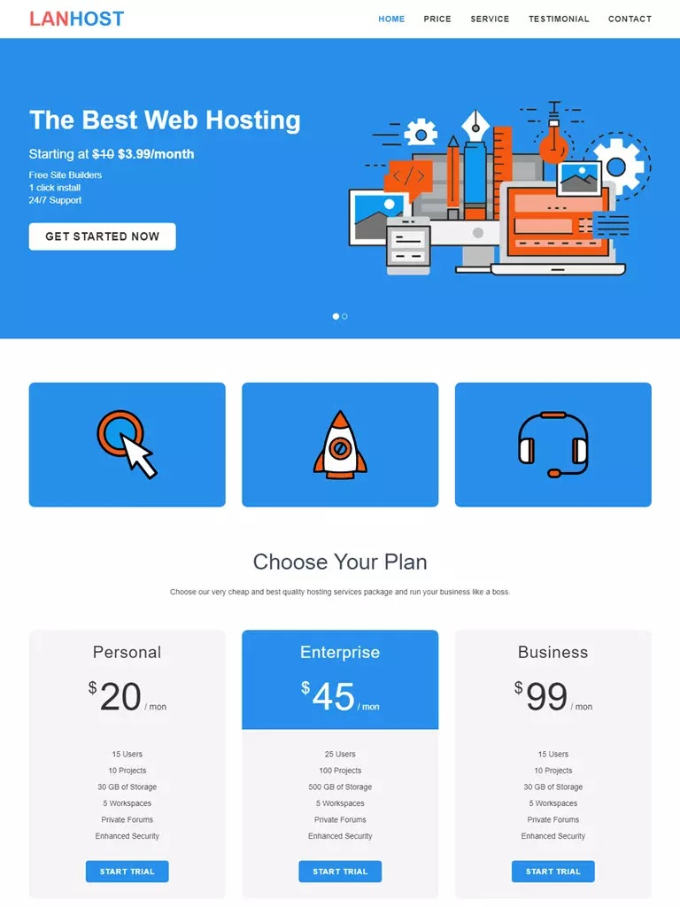 Theme blogspot landing page dịch vụ Lanhost