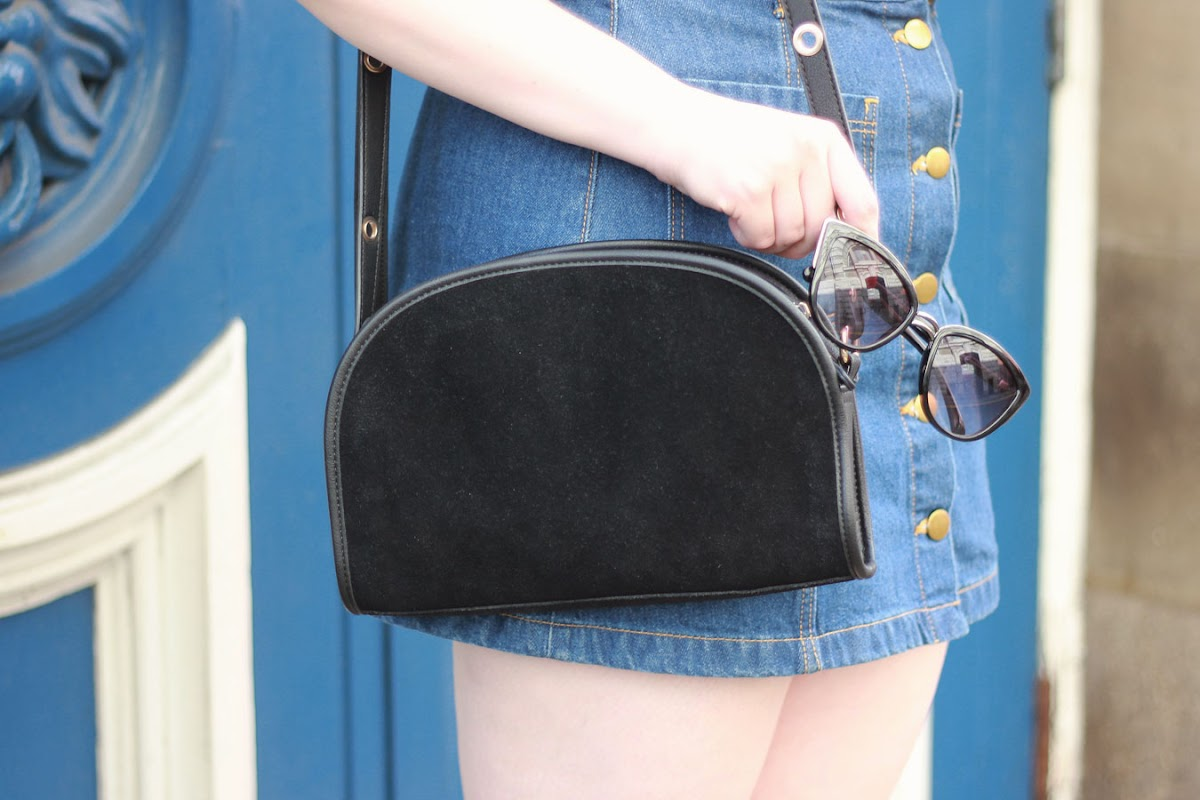 Urban Outfitters black suede half moon bag | www.itscohen.co.uk