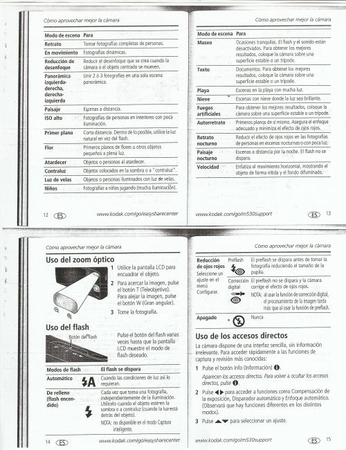 Manual Kodak M530: Manual de la camara Kodak M530