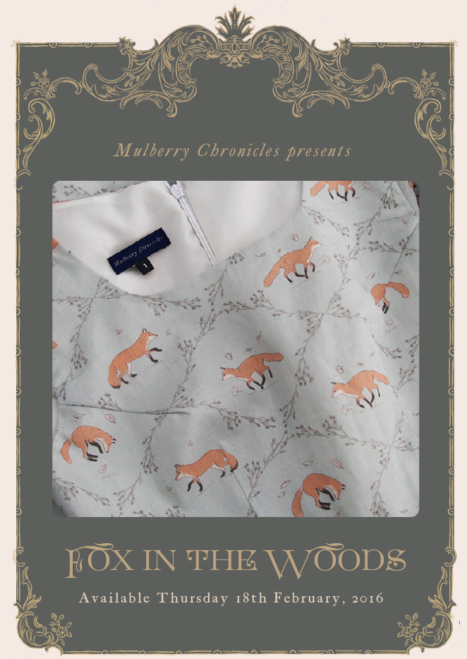 Mulberry Chronicles Fox in the Woods otome kei lolita fashion vintage illustrated dress melbourne novelty print jfashion kawaii