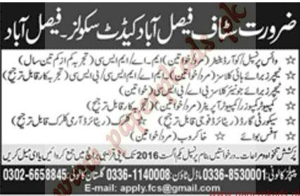 Cadet College Job, FaisalAbad, GOVT JOBS, 2016, Computer Operator, Vice Principal, Office boy, security guard jobs, Security Guards, Private Jobs,