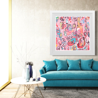 art print, large square pink art, pink abstract art, abstract artwork, contemporary art print, modern art print, Sam Freek,