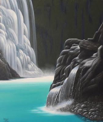 montagnes, cascades, peinture à l huile, peinture