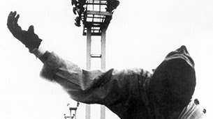 La Jetée, man falling at Orly Airport, still from Chris Marker's film