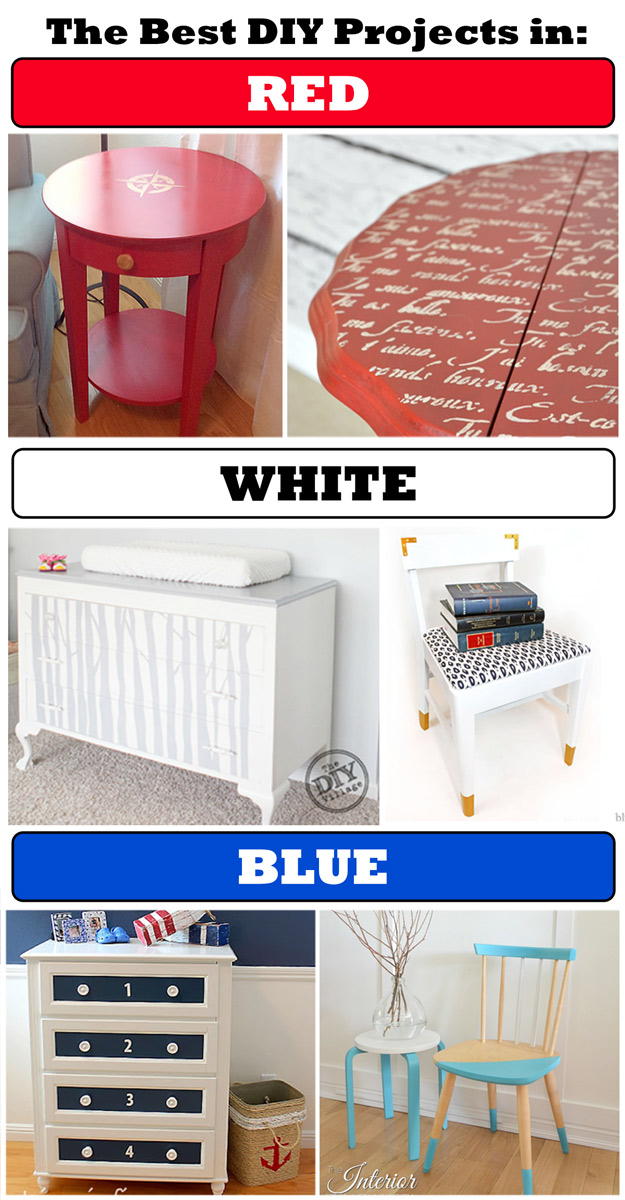 Three collections of fabulous diy projects.. in three colors: Red, White and Blue.  Because you don't need stars and stripes to be patriotic.