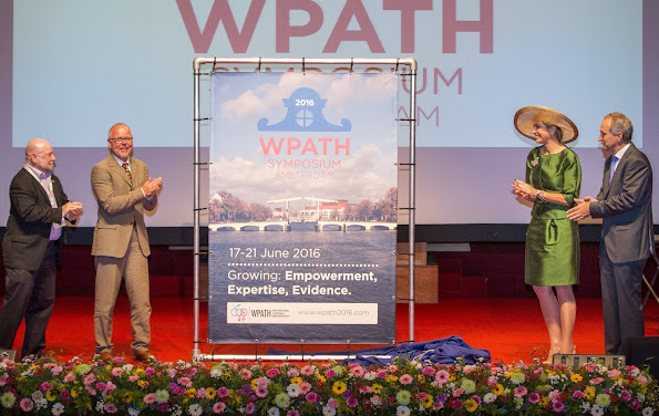 Dutch Queen Maxima attend opening 24th WPATH Symposium in Amsterdam. Queen wore Natan dress, Natan pumps, Natan Clutch, jewelry diamond earrings